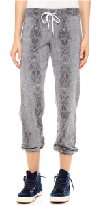 Monrow Snakeskin Vintage Sweatpants in Dark Heather.